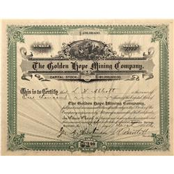 CO - Cripple Creek,Teller County - 1896 - Golden Hope Mining Company Stock Certificate - Fenske Coll