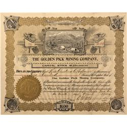 CO - Cripple Creek,Teller County - 1896 - Golden Pick Mining Company Stock Certificate - Fenske Coll