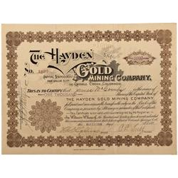 CO - Cripple Creek,Teller County - 1899 - Hayden Gold Mining Company Stock Certificate - Fenske Coll