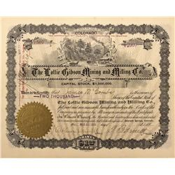 CO - Cripple Creek,Teller County - 1899 - Lottie Gibson Mining and Milling Co. Stock Certificate - F
