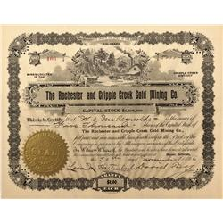 CO - Cripple Creek,Teller County - 1896 - Rochester and Cripple Creek Gold Mining Co. Stock Certific