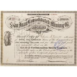 CO - Del Norte,Rio Grande County - 1875 - San Juan Consolidated Mining Co. Stock Certificate - Fensk