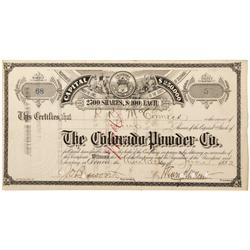 CO - Denver,1882 - Colorado Powder Co. Stock Certificate - Fenske Collection