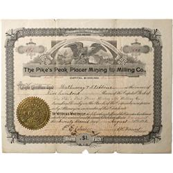 CO - Fremont,Teller County - August 22, 1892 - Pikes Peak Placer Mining and Milling Co. Stock Certif