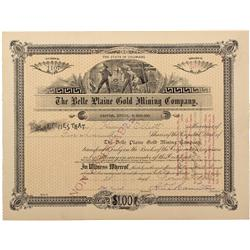 CO - Gillette,Teller County - 1896 - The Belle Plaine Gold Mining Company Stock Certificate - Fenske