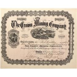 CO - Gothic,Gunnison County - 1881 - Crown Mining Company Stock Certificate - Fenske Collection