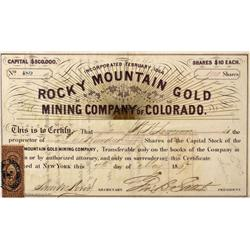 CO - Gregory Gulch,Gilpin - May 7, 1867 - Rocky Mountain Gold Stock Certificate