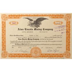CO - Idaho Springs,Clear Creek County - 1935 - Alma Lincoln Mining Company Stock Certificate - Fensk