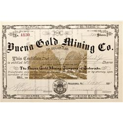 CO - Jamestown,Boulder County - 1881 - Buena Gold Mining Co. of Colorado Stock Certificate - Fenske