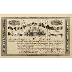 CO - Kokomo,Summit County - 1886 - Consolidated Ten Mile Mining and Reduction Company Stock Certific