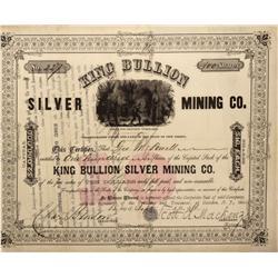 CO - Kokomo,Summit County - 1881 - King Bullion Silver Mining Co. Stock Certificate - Fenske Collect