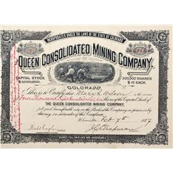 CO - Leadville,Lake County - 1887 - Queen Consolidated Mining Company Stock Certificate - Fenske Col