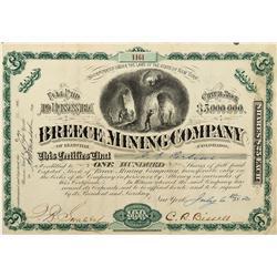 CO - Leadville,Lake County - 1880 - The Breece Mining Company of Leadville Colorado Stock Certificat