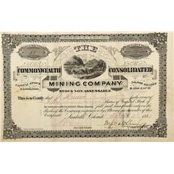 CO - Leadville,Lake County - 1881 - The Commonwealth Consolidated Mining Company Stock Certificate