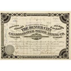 CO - Leadville,Lake County - 1881 - The Denver City Consolidated Silver Mining Co. Stock Certificate