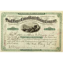 CO - Leadville,Lake County - 1897 - The Small Hopes Consolidated Mining Company Stock Certificate