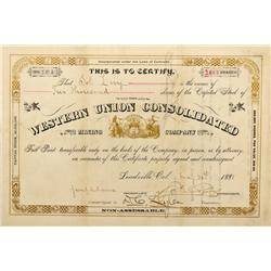 CO - Leadville,Lake County - 1881 - Western Union Consolidated Mining Company Stock Certificate