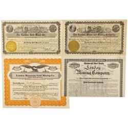 CO - London Mountain,Park County - 1882-1936 - London Mountain Stock Certificate/Bond Group