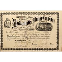 CO - Malachite,Jefferson County - 1877 - Malachite Mining Company of Colorado Stock Certificate - Fe
