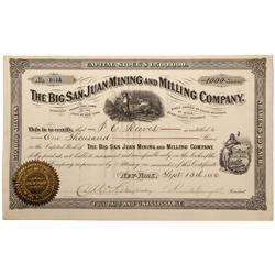 CO - Ophir,Ouray County - 1882 - The Big San Juan Mining and Milling Company Stock Certificate - Fen