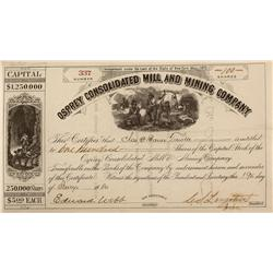 CO - Ouray,January 19, 1880 - Osprey Consolidated Mill and Mining Company, Stock Certificate