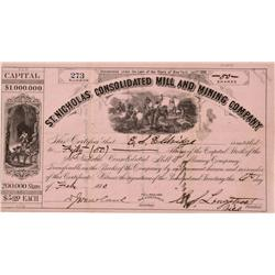 CO - Ouray,February 6, 1880 - St. Nicholas Consolidated Mill and Mining Company, Stock Certificate