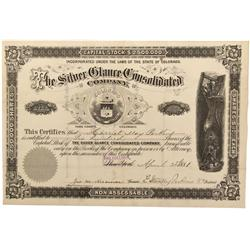 CO - Park County,1881 - Silver Glance Consolidated Company Stock Certificate - Fenske Collection