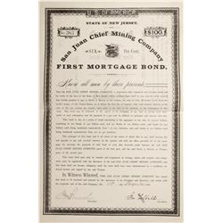 CO - Red Mountain,San Juan County - 1886 - San Juan Chief Mining Company Bond - Fenske Collection