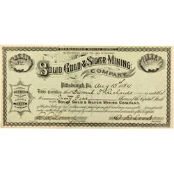 CO - Red Mountain,Ouray County - 1884 - The Solid Gold & Silver Mining Company Stock Certificate