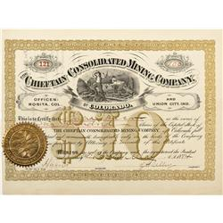 CO - Rosita,Custer County - 1884 - Chieftain Consolidated Mining Company Stock