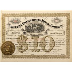CO - Rosita,Custer County - 1884 - Chieftain Consolidated Mining Company Stock Certificate - Fenske
