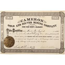 CO - San Juan County,c1880 - Cameron Gold and Silver Mining Company Stock Certificate - Fenske Colle