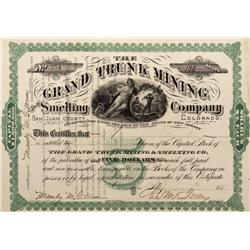 CO - San Juan County,c1880 - Grand Trunk Mining Company and Smelting Stock Certificate - Fenske Coll