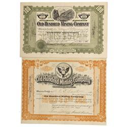 CO - San Juan County,1906, 1908 - Old Hundred Mining Company Stock Certificates