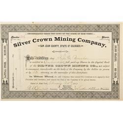 CO - San Juan County,1881 - Silver Crown Mining Company Stock Certificate