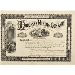 CO - Silverton,San Miguel County - 1882 - Duquesne Mining Company Stock Certificate