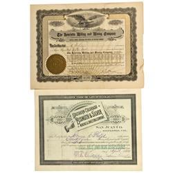 CO - Silverton,San Juan County - 1884, 1909 - Silverton District Stock Certificate Group