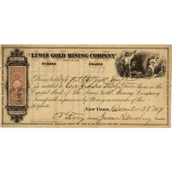 GA - White County,December 28, 1867 - Lewis Gold Mining Company Stock