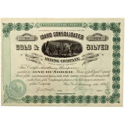 ID - 1882 - Idaho Consolidated Gold & Silver Mining Company Stock Certificate