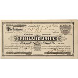 ID - Rocky Bar,Alturas County - July 4, 1881 - Philadelphia Mining and Smelting Company Stock Certif
