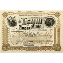 ID - Salmon,Lemhi County - 1892 - The Lemhi Placer-Mining Company Limited Stock - Fenske Collection
