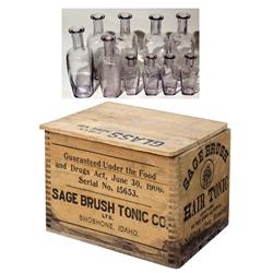 ID - Shoshone,Lincoln County - c1907 - Sage Brush Hair Tonic Bottles/Wood Box