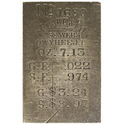 ID - Silver City,Owyhee County - 1872-1873 - Blake Silver City Ingot *Territorial*