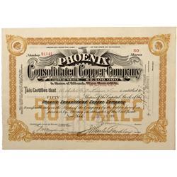 MI - 1906 - Phoenix Consolidated Copper Copmpany Stock - Fenske Collection