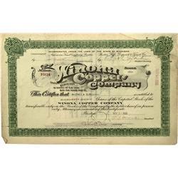 MI - 1928 - Winona Copper Company Stock Certificate - Fenske Collection