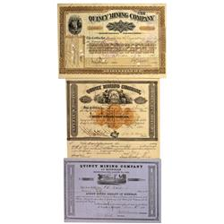 MI - Hancock District,Houghton County - 1851, 1873, 1906 - Quincy Mining Company Stock Certificate