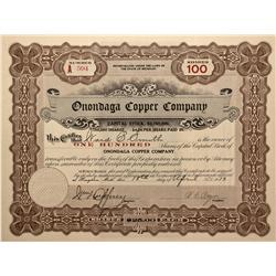 MI - Houghton,Houghton County - 1913 - Onondaga Copper Company Stock Certificate - Fenske Collection