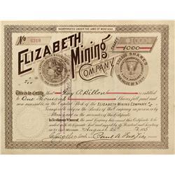MT - Aug. 26, 1895 - Elizabeth Mining Company Stock Certificate - Fenske Collection