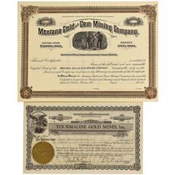 MT - Montana Gem Mine Stock Certificates - Fenske Collection