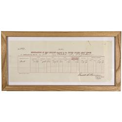 MT - Helena,1883 - Assay Receipt, Framed *Territorial*